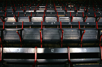 BOSTON - OCTOBER 16:  A view of empty seats located in left field at Fenway Park are shown before game three of the American League Championship Series between the Boston Red Sox and New York Yankees on October 16, 2004 in Boston, Massachusetts.  (Photo b