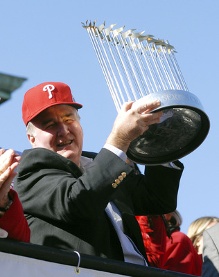 PHILADELPHIA, PA - OCTOBER 31: Philadelphia Phillies President Dave Montgomery hold the World Series trophy during the World Championship Parade October 31, 2008 in Philadelphia, Pennsylvania. The Phillies defeated the Tampa Bay Rays to win their first Wo