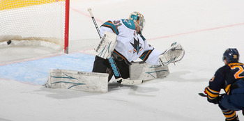 BUFFALO, NY - DECEMBER 09: Jason Pominville #29 of the Buffalo Sabres scores a shorthanded goal on Antti Niemi #31 of the San Jose Sharks at HSBC Arena on December 9, 2010 in Buffalo, New York.  (Photo by Rick Stewart/Getty Images)