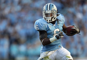 CHAPEL HILL, NC - NOVEMBER 13:  Anthony Elzy #6of the North Carolina Tar Heels runs with the ball against the Virginia Tech Hokies during their game at Kenan Stadium on November 13, 2010 in Chapel Hill, North Carolina.  (Photo by Streeter Lecka/Getty Imag