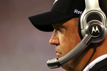 EAST RUTHERFORD, NJ - SEPTEMBER 13:  Head coach Rex Ryan of the New York Jets looks on from the sideline during their home opener against the Baltimore Ravens at the New Meadowlands Stadium on September 13, 2010 in East Rutherford, New Jersey.  (Photo by