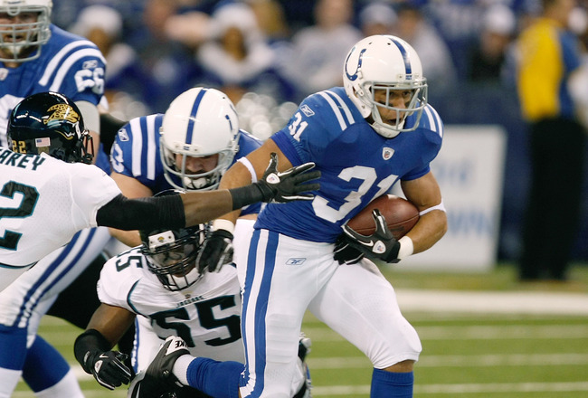 INDIANAPOLIS, IN - DECEMBER 19: Donald Brown #31 of the Indianapolis Colts runs against the Jacksonville Jaguars at Lucas Oil Stadium on December 19, 2010 in Indianapolis, Indiana.  (Photo by Scott Boehm/Getty Images)