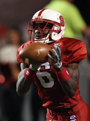 RALEIGH, NC - SEPTEMBER 16:  T.J. Graham #6 of the North Carolina State Wolfpack during their game at Carter-Finley Stadium on September 16, 2010 in Raleigh, North Carolina.  (Photo by Streeter Lecka/Getty Images)
