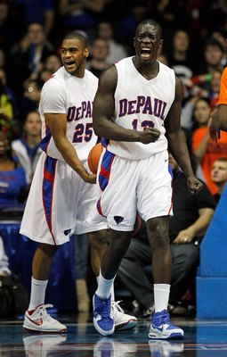 ROSEMONT, IL - JANUARY 30: Mac Koshwal #13 and Eric Wallace #25 of the DePaul Blue Demons yell after a foul is called against the Syracuse Orange at the Allstate Arena on January 30, 2010 in Rosemont, Illinois. Syracuse defeated DePaul 59-57. (Photo by Jo