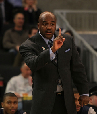 PROVIDENCE, RI - MARCH 18:  Coach John Thompson of the Georgetown Hoyas reacts during a game against the Ohio Bobcats during the first round of the 2010 NCAA men's basketball tournament at Dunkin' Donuts Center on March 18, 2010 in Providence, Rhode Islan