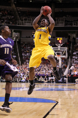 SAN JOSE, CA - MARCH 18:  Guard Darius Johnson-Odom #1 of the Marquette Golden Eagles takes a shot against the Washington Huskies during the first round of the 2010 NCAA men's basketball tournament at HP Pavilion on March 18, 2010 in San Jose, California.