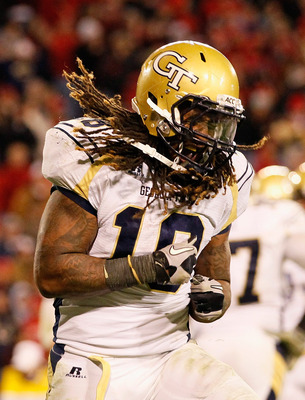 ATHENS, GA - NOVEMBER 27:  Anthony Allen #18 of the Georgia Tech Yellow Jackets reacts after scoring a touchdown against the Georgia Bulldogs at Sanford Stadium on November 27, 2010 in Athens, Georgia.  (Photo by Kevin C. Cox/Getty Images)