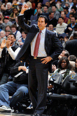 WASHINGTON, DC - DECEMBER 18:  Head coach Eric Spoelstra of the Miami Heat watches the game against the Washington Wizards at the Verizon Center on December 18, 2010 in Washington, DC. NOTE TO USER: User expressly acknowledges and agrees that, by download