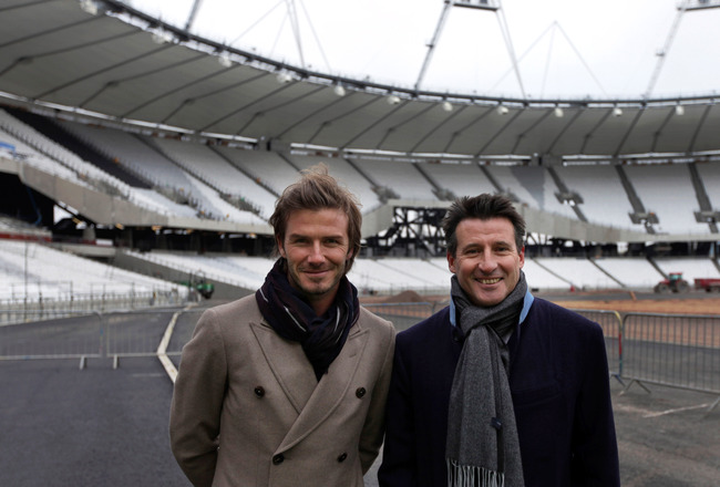LONDON - NOVEMBER 29:  British football player David Beckham (L) is shown the main Olympic stadium by Lord Coe, Chair of the London 2012 Organising Committee, during a visit to the main Olympic stadium on November 29, 2010 in London, England.  The Olympic