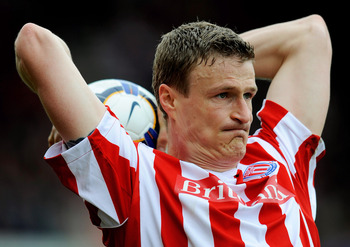 STOKE ON TRENT, ENGLAND - APRIL 03: Robert Huth of Stoke takes a throw in during the Barclays Premier League match between Stoke City and Hull City at the Britannia Stadium on April 3, 2010 in Stoke on Trent, England.  (Photo by Michael Regan/Getty Images