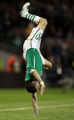 DUBLIN, IRELAND - SEPTEMBER 07:  Robbie Keane of Republic of Ireland celebrates scoring the 3rd goal during the UEFA EURO 2012 Group B Qualifier between Republic of Ireland and Andorra at the Aviva Stadium on September 7, 2010 in Dublin, Ireland.  (Photo