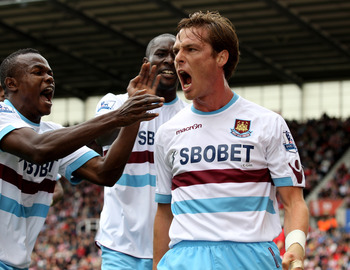 STOKE ON TRENT, ENGLAND - SEPTEMBER 18:  Scott Parker of West Ham scores a goal during the Barclays Premier League match between Stoke City and West Ham United at the Britannia Stadium on September 18, 2010 in Stoke on Trent, England.  (Photo by Mark Thom