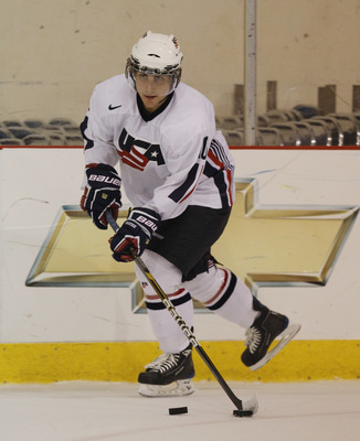 LAKE PLACID, NY - AUGUST 03:  Ryan Bourque #10 of Team USA skates against Team Sweden at the USA Hockey National Evaluation Camp on August 3, 2010 in Lake Placid, New York. Team USA defeated Team Sweden 6-3.  (Photo by Bruce Bennett/Getty Images)