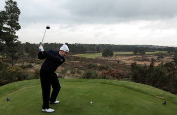 SUNNINGDALE, UNITED KINGDOM - DECEMBER 14:  Lee Westwood of England the World's Number One Golfer in action after a listener had paid £90,000 for the game of golf which Lee Westwood had offered on the Chris Evans show for auction during the Children in Ne