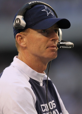 ARLINGTON, TX - DECEMBER 19:  Interim head coach Jason Garrett of the Dallas Cowboys during a game against the Washington Redskins at Cowboys Stadium on December 19, 2010 in Arlington, Texas.  (Photo by Ronald Martinez/Getty Images)