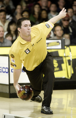 WICHITA, KS - OCTOBER 26: Sean Rash rolls during the semi-finals of the PBA World Championships held at the Northrock Lanes on October 26, 2008 in Wichita, Kansas. (Photo by Craig Hacker/Getty Images for PBA)