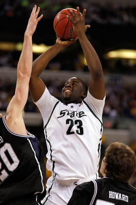 INDIANAPOLIS - APRIL 03:  Draymond Green #23 of the Michigan State Spartans shoots the ball against the Butler Bulldogs during the National Semifinal game of the 2010 NCAA Division I Men's Basketball Championship on April 3, 2010 in Indianapolis, Indiana.