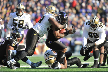 BALTIMORE, MD - DECEMBER 19:  Willis McGahee #23 of the Baltimore Ravens runs the ball against the New Orleans Saints  at M&T Bank Stadium on December 19, 2010 in Baltimore, Maryland. The Ravens defeated the Saints 30-24. (Photo by Larry French/Getty Imag