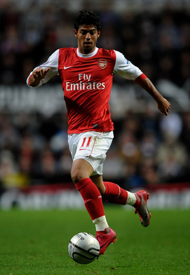 NEWCASTLE, UNITED KINGDOM - OCTOBER 27:  Carlos Vela of Arsenal in action during the Carling Cup Fourth Round match between Newcastle United and Arsenal at St James' Park on October 27, 2010 in Newcastle, England. (Photo by Laurence Griffiths/Getty Images