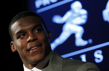NEW YORK - DECEMBER 11:  2010 Heisman Trophy candidate Cam Newton of the Auburn University Tigers speaks at a press conference at The New York Marriott Marquis on December 11, 2010 in New York City. (Photo by Jeff Zelevansky/Getty Images)