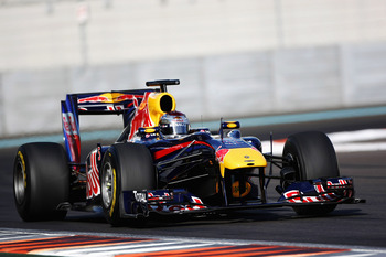 ABU DHABI, UNITED ARAB EMIRATES - NOVEMBER 19: Sebastian Vettel of Germany and Red Bull Racing in action during the Formula 1 Pirelli Tyre Testing at the Yas Marina Circuit on November 19, 2010 in Abu Dhabi, United Arab Emirates. (Photo by Andrew Hone/Get