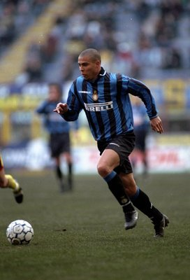 Feb 1998:  Ronaldo of Inter Millan in action against Bologna played in Italy. \ Mandatory Credit: Allsport UK /Allsport