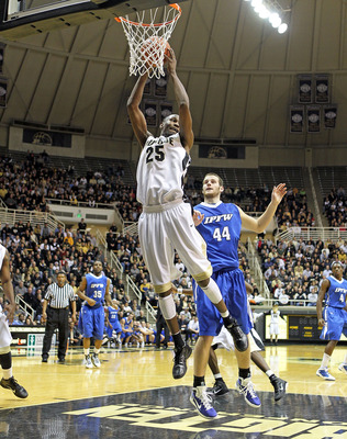 WEST LAFAYETTE, IN - DECEMBER 21:  JaJuan Johnson #25 of the Purdue Boilermakers grabs a rebound during the game against the IPFW Mastodons at Mackey Arena on December 21, 2010 in West Lafayette, Indiana.  (Photo by Andy Lyons/Getty Images)