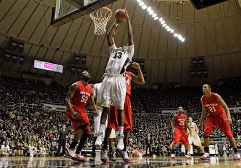 WEST LAFAYETTE, IN - JANUARY 12:  E'Twaun Moore #33 of the Purdue Boilermakers shoots the ball during the Big Ten game against the Ohio State Buckeyes at Mackey Arena on January 12, 2010 in West Lafayette, Indiana. Ohio State won 70-66.  (Photo by Andy Ly
