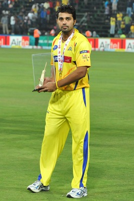 JOHANNESBURG, SOUTH AFRICA - SEPTEMBER 26: Murali Vijay of the Super Kings poses with his Man-of-the-Match trophy during the 2010 Airtel Champions League Twenty20 final match between Chennai Super Kings and Chevrolet Warriors from Bidvest Wanderers Stadiu