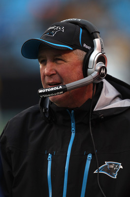CHARLOTTE, NC - DECEMBER 12:  Head coach John Fox of the Carolina Panthers watches on during their game against the Atlanta Falcons at Bank of America Stadium on December 12, 2010 in Charlotte, North Carolina.  (Photo by Streeter Lecka/Getty Images)