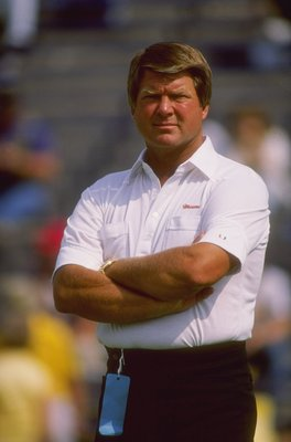 Miami Hurricanes head coach Jimmy Johnson looks on during a game against the Notre Dame Fighting Irish at Notre Dame Stadium in South Bend, Illinois.
