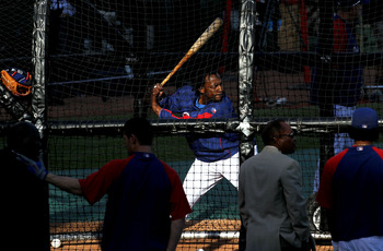 ARLINGTON, TX - NOVEMBER 01:  Vladimir Guerrero #27 of the Texas Rangers takes batting practice against the San Francisco Giants in Game Five of the 2010 MLB World Series at Rangers Ballpark in Arlington on November 1, 2010 in Arlington, Texas.  (Photo by