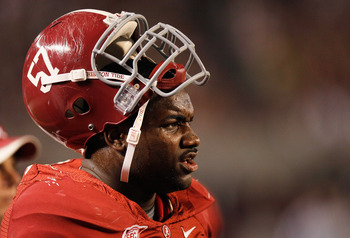 TUSCALOOSA, AL - OCTOBER 16:  Marcell Dareus #57 of the Alabama Crimson Tide against the Ole Miss Rebels at Bryant-Denny Stadium on October 16, 2010 in Tuscaloosa, Alabama.  (Photo by Kevin C. Cox/Getty Images)