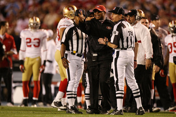SAN DIEGO, CA - DECEMBER 16:  Head coach Mike Singletary of the San Francisco 49ers reacts to a call by the officials during their game against the San Diego Chargers at Qualcomm Stadium on December 16, 2010 in San Diego, California.  (Photo by Donald Mir