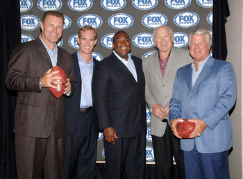 Fox Sports announcers from left: Howie Long, Joe Buck, Curt Menefee, Terry Bradshaw and Jimmy Johnson during a press conference to announce the new Fox football broadcasting team for Fox Sports at the News Corp. Building in New York City, New York on Mond