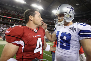 GLENDALE, AZ - DECEMBER 25:  Kicker Jay Feely #4 of the Arizona Cardinals talks with David Buehler #18 of the Dallas Cowboys following the NFL game at the University of Phoenix Stadium on December 25, 2010 in Glendale, Arizona. The Cardinals defeated the