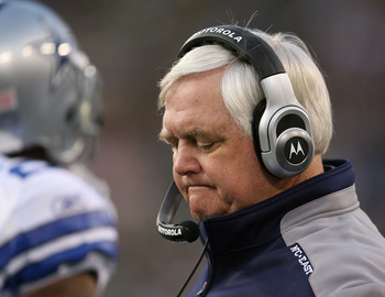 GREEN BAY, WI - NOVEMBER 15: Head coach Wade  Phillips of the Dallas Cowboys reacts as his offense comes off the field during a game against the Green Bay Packers at Lambeau Field on November 15, 2009 in Green Bay, Wisconsin. The Packers defeated the Cowb