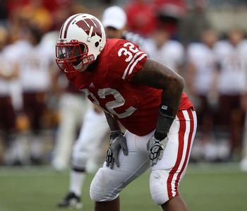 MADISON, WI - SEPTEMBER 18: John Clay #32 of the Wisconsin Badgers awaits the start of play against the Arizona State Sun Devils at Camp Randall Stadium on September 18, 2010 in Madison, Wisconsin. Wisconsin defeated Arizona State 20-19. (Photo by Jonatha