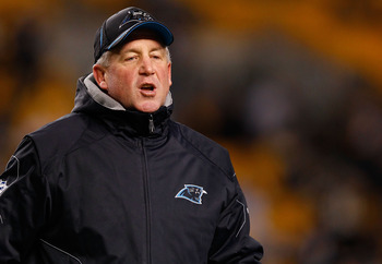 PITTSBURGH - DECEMBER 23:  Head coach John Fox of the Carolina Panthers watches his team warm up prior to the game against the Pittsburgh Steelers on December 23, 2010 at Heinz Field in Pittsburgh, Pennsylvania.  (Photo by Jared Wickerham/Getty Images)