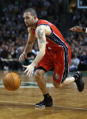 BOSTON - NOVEMBER 24:  Jordan Farmar #2 of the New Jersey Nets drives to the net in the second half against the Boston Celtics on November 24, 2010 at the TD Garden in Boston, Massachusetts. The Celtics defeated the nets 89-83. NOTE TO USER: User expressl