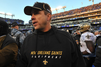 BALTIMORE, MD - DECEMBER 19:  Head coach Sean Payton of the New Orleans Saints walks off the field after the game against the Baltimore Ravens  at M&T Bank Stadium on December 19, 2010 in Baltimore, Maryland. The Ravens defeated the Saints 30-24. (Photo b
