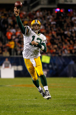 CHICAGO - SEPTEMBER 27:  Aaron Rodgers #12 of the Green Bay Packers throws a pass against the Chicago Bears at Soldier Field on September 27, 2010 in Chicago, Illinois. The Bears won 20-17. (Photo by Jonathan Daniel/Getty Images)