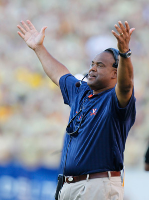 ATLANTA - OCTOBER 09:  Head coach Mike London of the Virginia Cavaliers against the Georgia Tech Yellow Jackets at Bobby Dodd Stadium on October 9, 2010 in Atlanta, Georgia.  (Photo by Kevin C. Cox/Getty Images)
