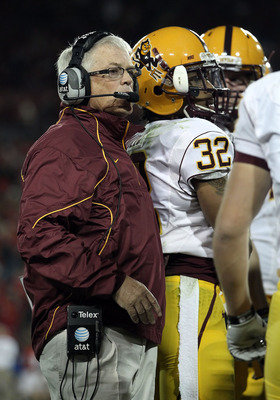 TUCSON, AZ - DECEMBER 02:  Head coach Dennis Erickson of the Arizona State Sun Devils during the college football game at Arizona Stadium on December 2, 2010 in Tucson, Arizona. The Sun Devils defeated the Wildcats 30-29 in double overtime.  (Photo by Chr