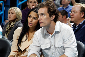 NEW ORLEANS, LA - DECEMBER 15:  Actor Matthew McConaughey and girlfriend Camila Alves watch the New Orleans Hornets take on the Sacramento Kings on December 15, 2010 at the New Orleans Arena in New Orleans, Louisiana.  NOTE TO USER: User expressly acknowl