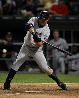 CHICAGO - AUGUST 10: Jim Thome #25 of the Minnesota Twins takes a swing against the Chicago White Sox at U.S. Cellular Field on August 10, 2010 in Chicago, Illinois. The Twins defeated the White Sox 12-6. (Photo by Jonathan Daniel/Getty Images)