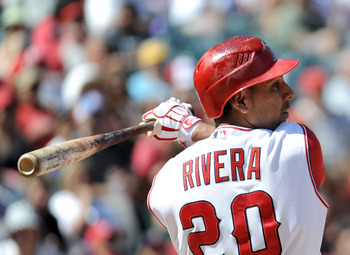 ANAHEIM, CA - SEPTEMBER 12:  Juan Rivera #20 of the Los Angeles Angels of Anaheim at bat against the Seattle Mariners during the game at Angel Stadium on September 12, 2010 in Anaheim, California.  (Photo by Harry How/Getty Images)