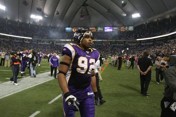 MINNEAPOLIS - DECEMBER 17: Jayme Mitchell #92 of the Minnesota Vikings walks off the field after the game against the Chicago Bears at the Hubert H. Humphrey Metrodome on December 17, 2007 in Minneapolis, Minnesota. The Vikings defeated the Bears 20-13. (