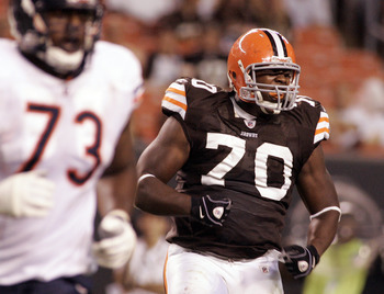 CLEVELAND - SEPTEMBER 2:  Brian Sanford #70 of the Cleveland Browns celebrates his sack against the Chicago Bears during the preseason game on September 2, 2010 at Cleveland Browns Stadium in Cleveland, Ohio. The Browns defeated the Bears 13-10.  (Photo b