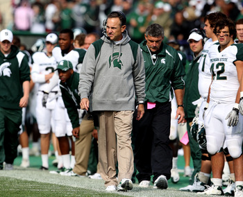 EVANSTON, IL - OCTOBER 23: Head coach Mark Dantonio of the Michigan State Spartans returned to the sidelines for a game against the Northwestern Wildcats at Ryan Field on October 23, 2010 in Evanston, Illinois. Michigan State defeated Northwestern 35-27.